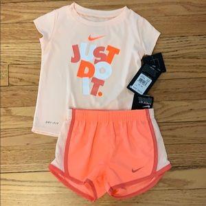 Nike dri-fit shirt with matching shorts 24 mos